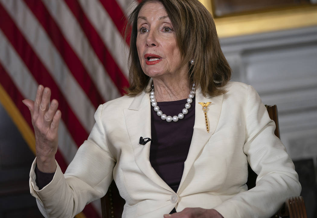 Speaker of the House Nancy Pelosi, D-Calif., speaks during an interview with The Associated Pre ...
