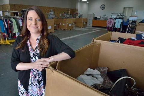 Brandy Aguirre, vice president of retail for Goodwill of Southern Nevada, is shown in the wareh ...