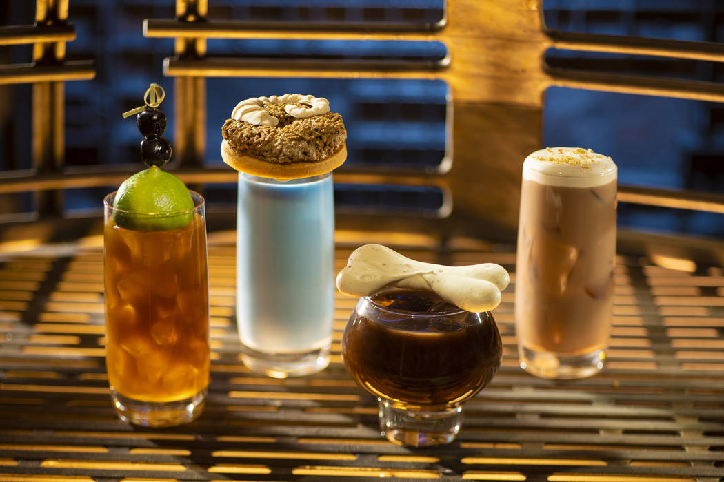 From left to right: Moogan Tea, Blue Bantha, Bloody Rancor (contains alcohol) and the Black Spi ...