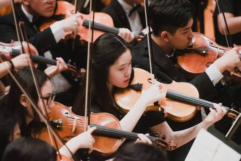 Students in the Clark High School orchestra performing in Carnegie Hall on Friday, April 12. (C ...