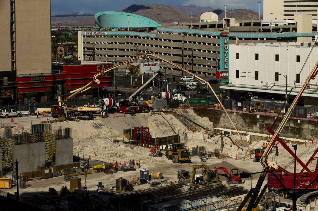 Construction continues at the under-development Circa as seen from the roof of the Plaza on Mon ...
