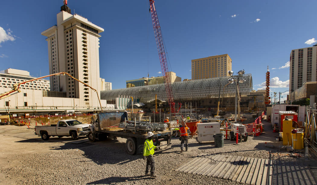 Construction continues at the under-development Circa on Monday, April 22, 2019, in Las Vegas. ...