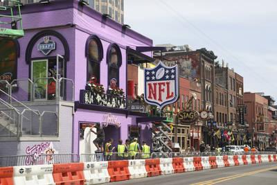 Crews set up stage for NFL Draft on Tuesday, April 23, 2019 in Nashville, Tenn. (AP Photo/Vera ...