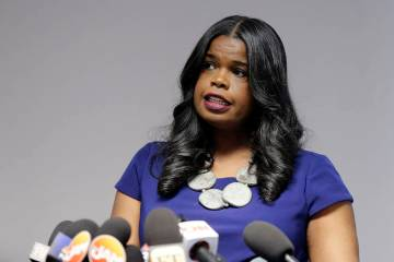 FILE - In this Feb. 22, 2019 file photo, Cook County State's Attorney Kim Foxx speaks at a news ...