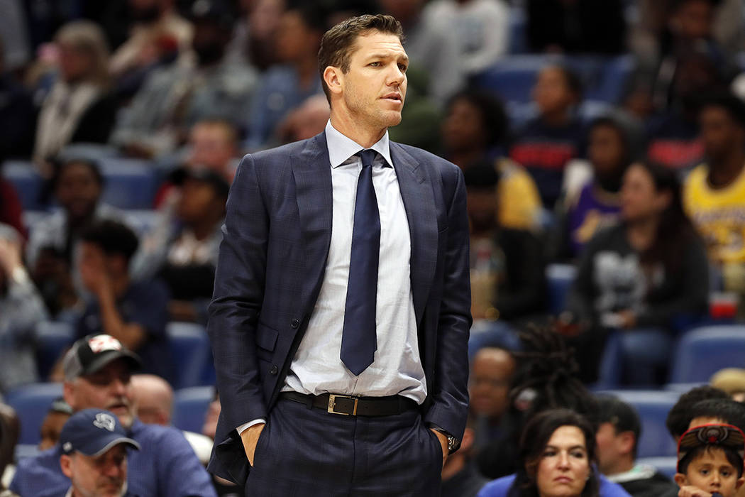 Los Angeles Lakers head coach Luke Walton during the first half of an NBA basketball game in Ne ...