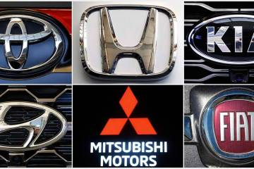 This undated combination of photos shows clockwise from top left the logos for Toyota, Honda, K ...