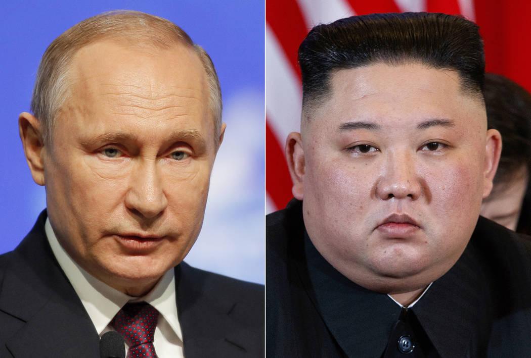FRussian President Vladimir Putin, left, in St. Petersburg, Russia, April 9, 2019, and North Ko ...
