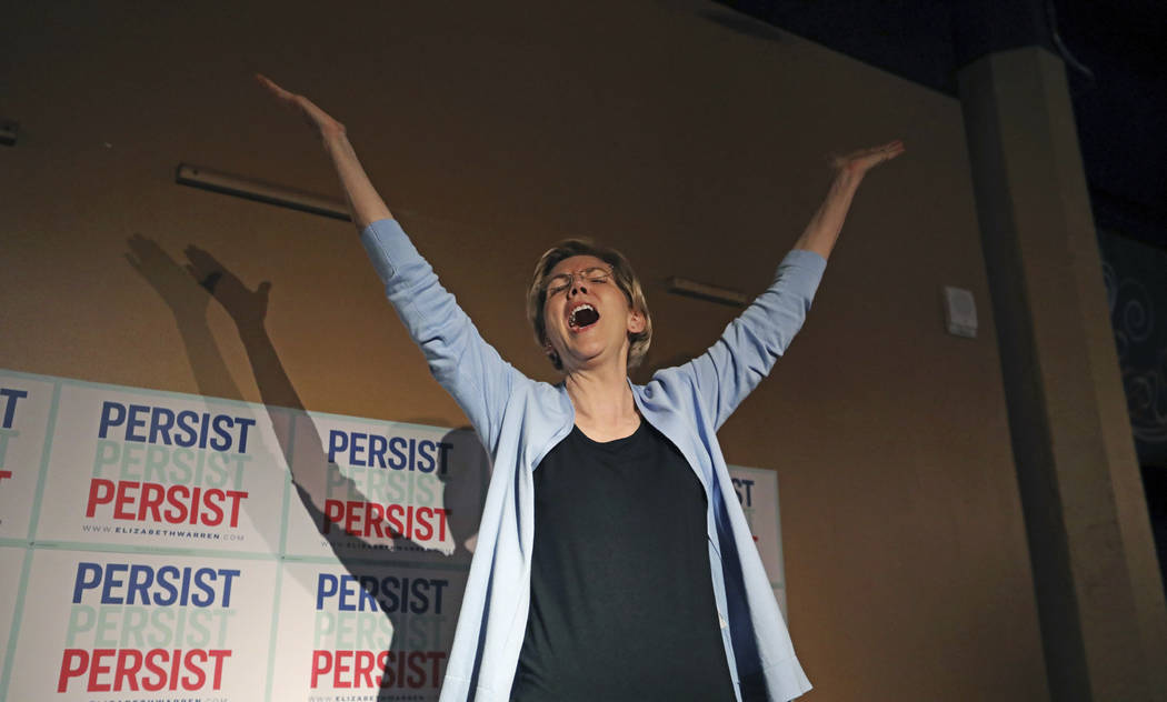 Democratic presidential candidate Sen. Elizabeth Warren, D-Mass., addresses a crowd before a ca ...