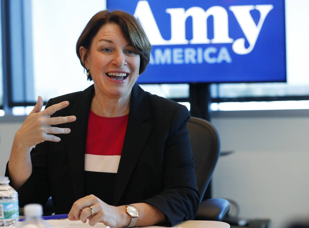 Democratic presidential candidate Amy Klobuchar speaks during a roundtable discussion on health ...