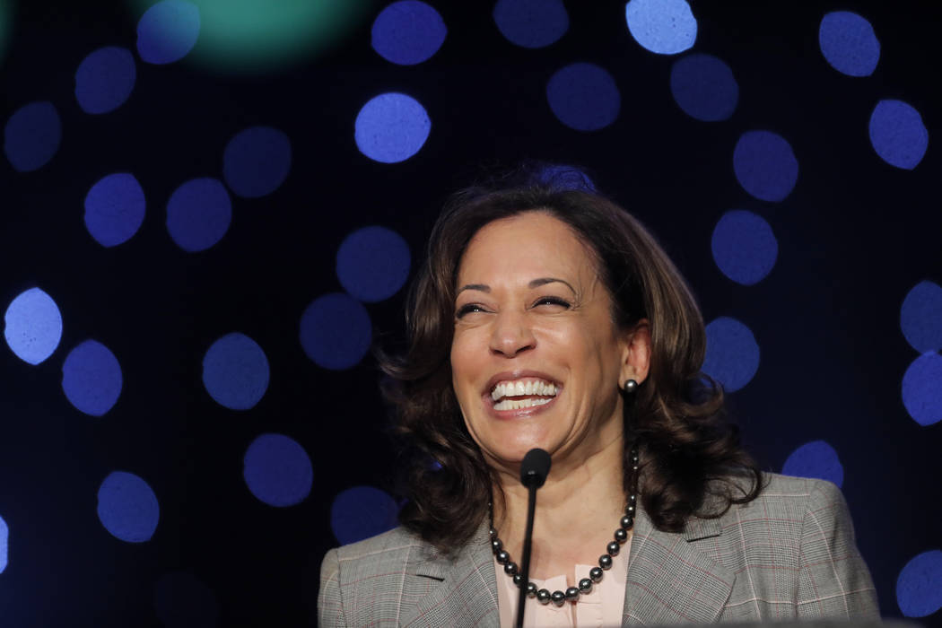 Democratic Presidential Candidate Sen. Kamala Harris, D-Calif., speaks at the Alpha Kappa Alpha ...