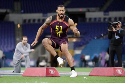 Mississippi State defensive lineman Montez Sweat runs a drill at the NFL football scouting comb ...