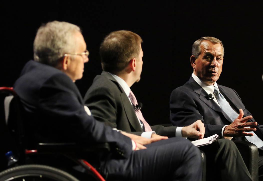 Former Speaker of the House John Boehner, far right, with former U.S. Sen. Harry Reid, left, an ...