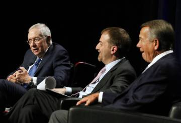 Former U.S. Sen. Harry Reid, from left, with NBC's Meet the Press host Chuck Todd, and former S ...
