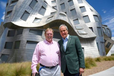 Raiders owner Mark Davis is shown with Larry Ruvo at the Cleveland Clinic Lou Ruvo Center for B ...