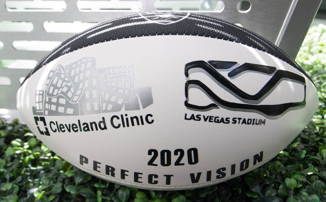 A customized football is shown at the Cleveland Clinic Lou Ruvo Center for Brain Health is show ...