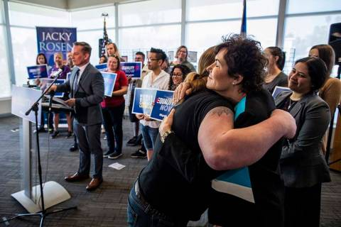 Sen. Jacky Rosen, D-Nev., hugs Danielle Brown after speaking at a Human Rights Campaign event f ...