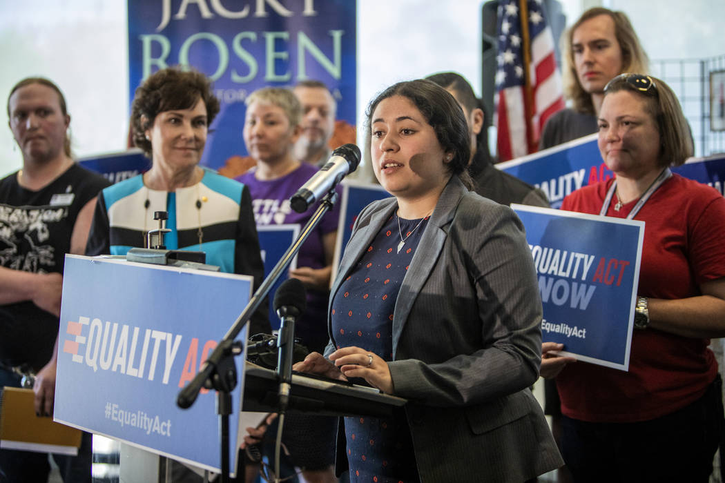 Human Rights Campaign Nevada State Director Briana Escamilla speaks at a HRC event for the Equa ...