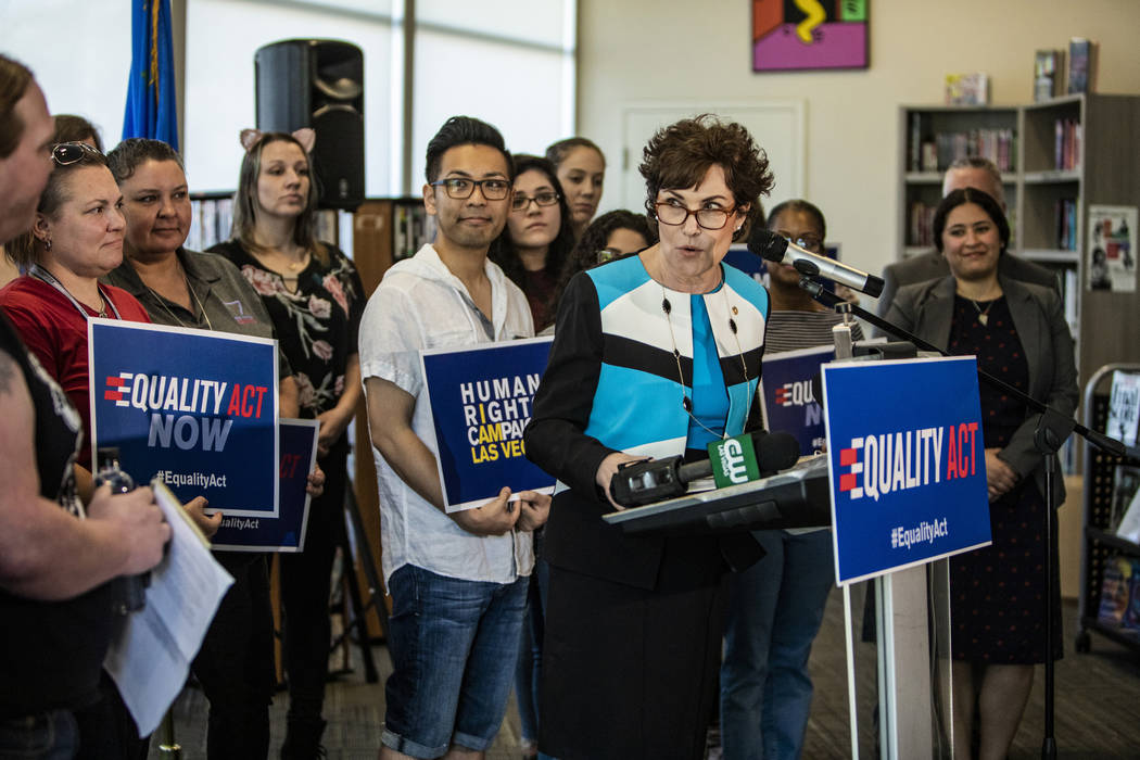Sen. Jacky Rosen, D-Nev., speaks at a Human Rights Campaign event for the Equality Act on Tuesd ...