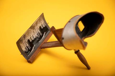 Bryan McCormick's vintage stereographic viewer with an image of the Hoover Dam is on display in ...