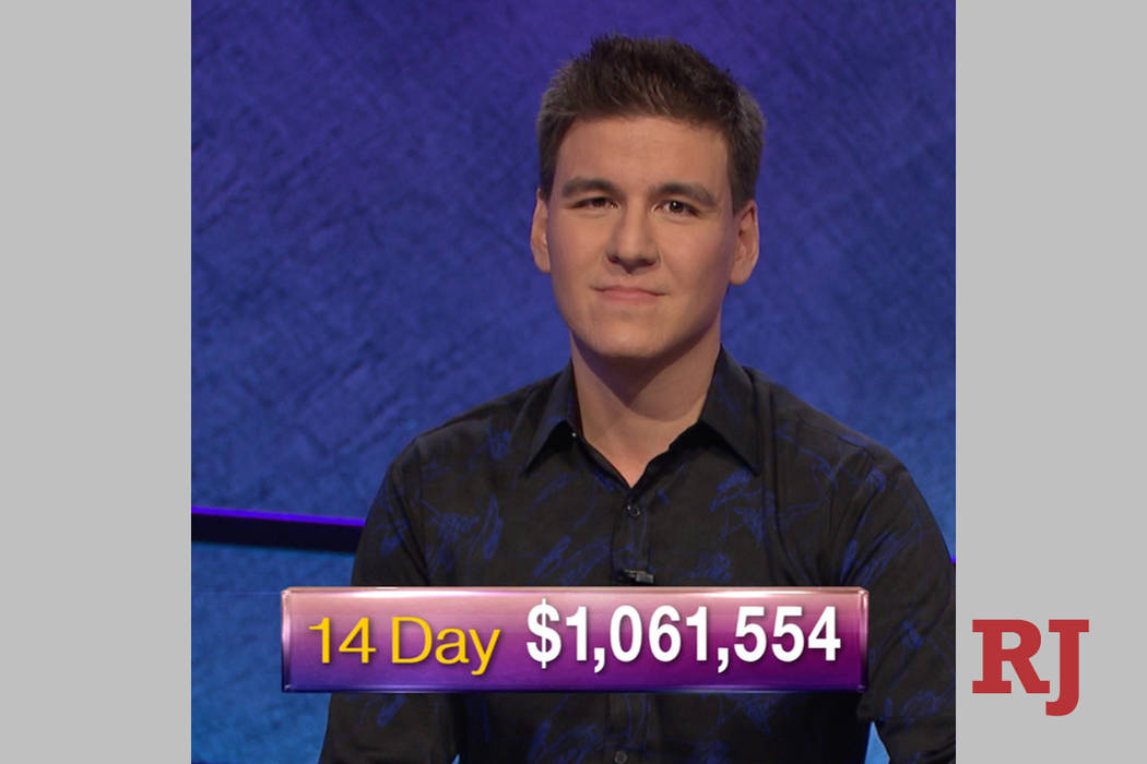 James Holzhauer, a 34-year-old professional sports gambler from Las Vegas, is shown after Tuesd ...