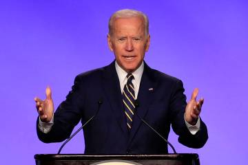 In this April 5, 2019 photo, former Vice President Joe Biden speaks at the International Brothe ...