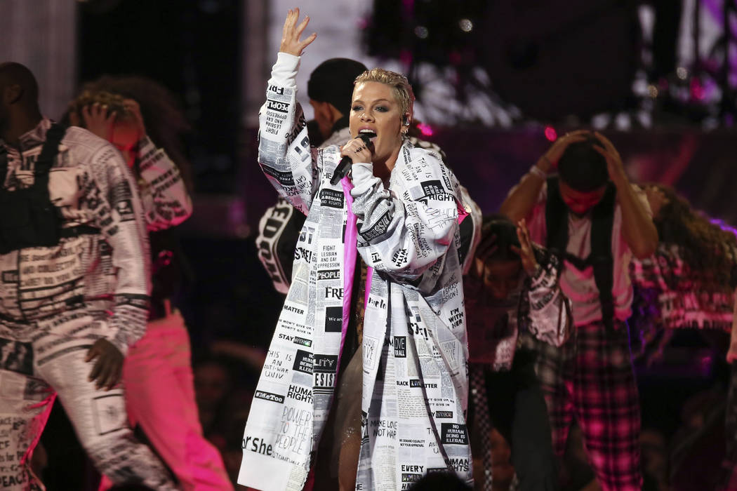 Pink performs onstage at the Brit Awards in London, Wednesday, Feb. 20, 2019. (Photo by Joel C ...