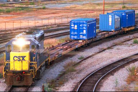 A CSX Train with spent nuclear fuel passes through Florence, S.C., on its way to Savannah River ...
