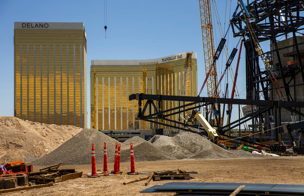 The newest truss is ready to be lifted and attached to top of Raiders Stadium on Wednesday, May ...