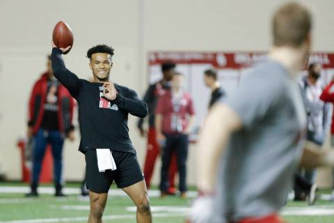 Oklahoma quarterback Kyler Murray goes through passing drills at the university's Pro Day for N ...