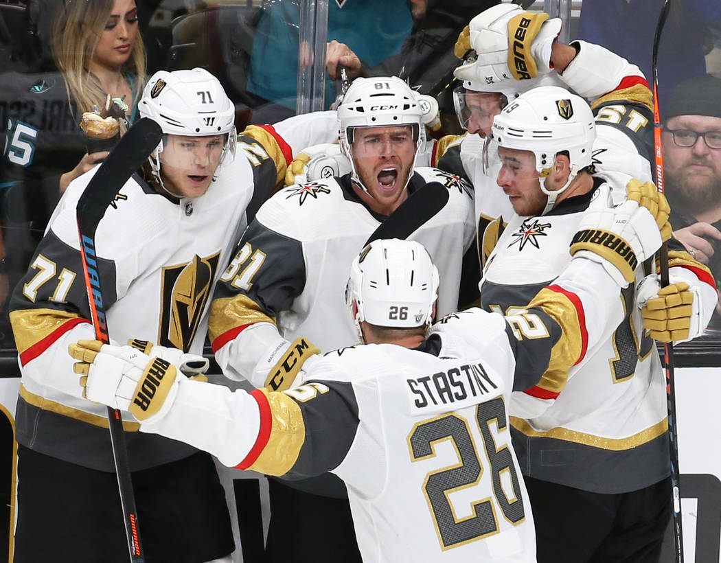 Knights center William Karlsson (71), Knights center Jonathan Marchessault (81), Knights right ...