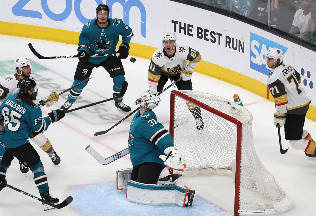San Jose Sharks goaltender Martin Jones (31) makes a save in the third period during game seven ...