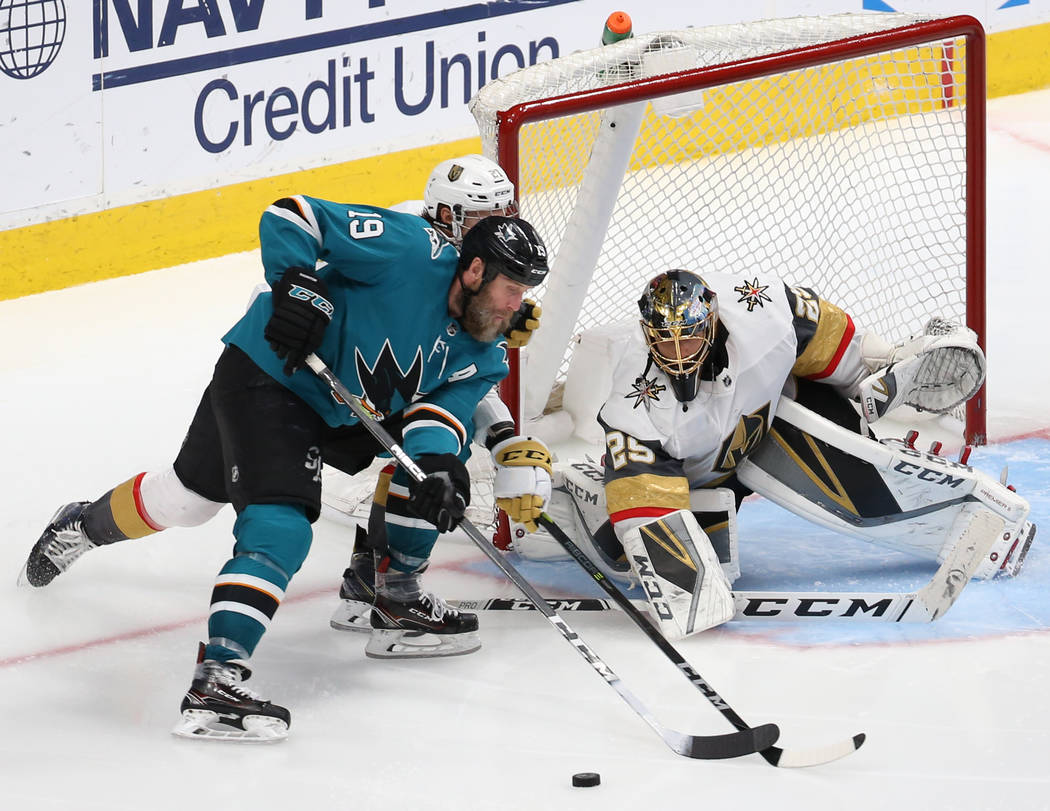 Golden Knights goaltender Marc-Andre Fleury (29) makes a save against San Jose Sharks center Jo ...
