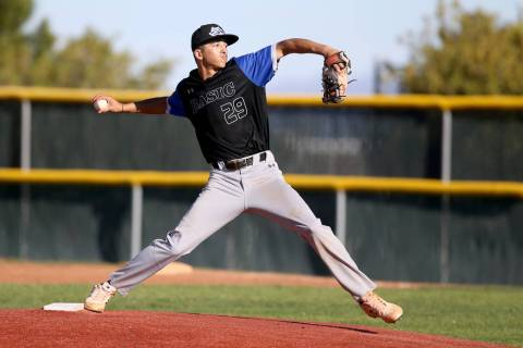 Basic pitcher Demetrius Vigil (29) throws against Palo Verde in the fifth inning of their baseb ...