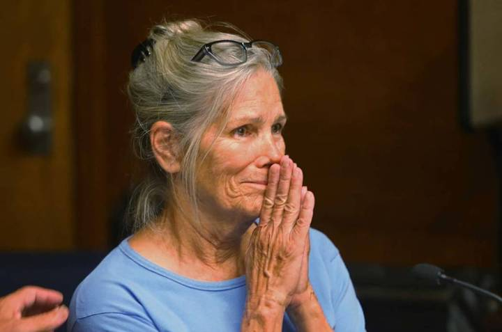 In this Sept. 6, 2017 file photo Leslie Van Houten reacts after hearing she is eligible for par ...