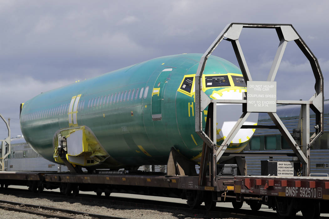 FILE - In this April 9, 2019, file photo a Boeing 737 fuselage, eventually bound for Boeing's p ...