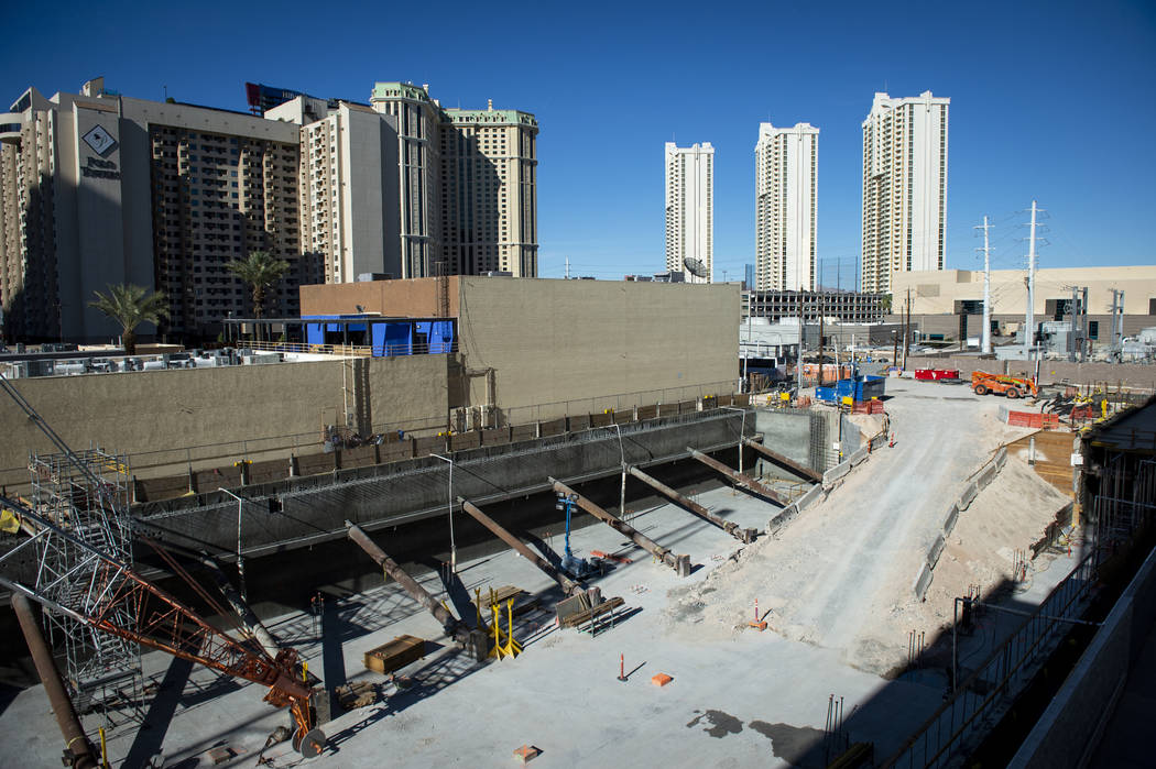 A vacant lot sits next to the Cable center shops on the Las Vegas Strip, Wednesday, April 17, 2 ...