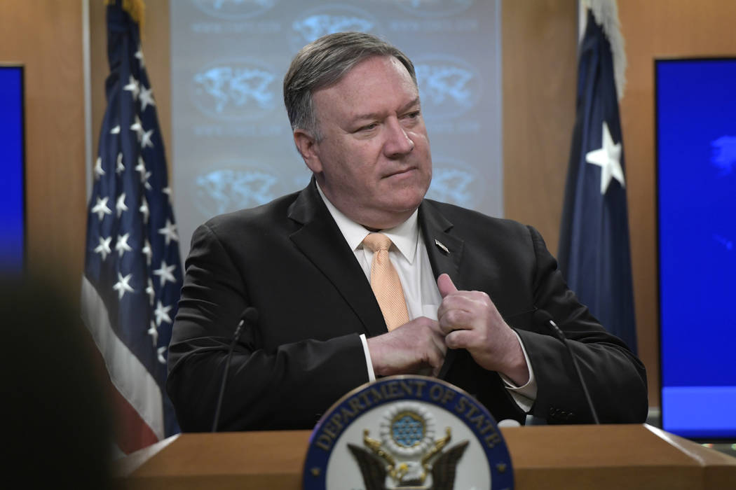 Secretary of State Mike Pompeo speaks during a news conference on Monday, April 22, 2019, at th ...