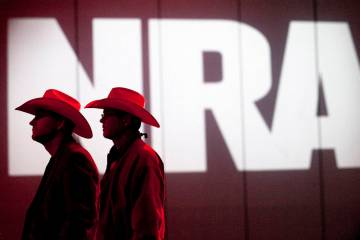 FILE - In this May 4, 2013, file photo, National Rifle Association members listen to speakers d ...