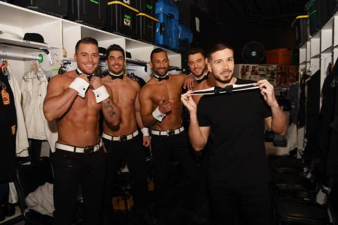 """Vinny 'Vinny G"""" Guadagnino is shown with members of """"Chippendales"""" at the Rio. He is performing ..."""