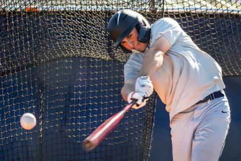 The Meadows School third baseman Sam Kaplan connects on a pitch during hitting practice, he wil ...