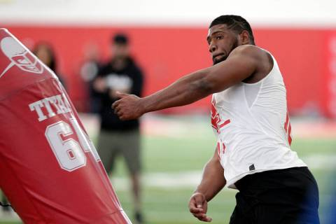 Houston defensive lineman Ed Oliver Jr. participates in drills during Pro Day at the indoor foo ...