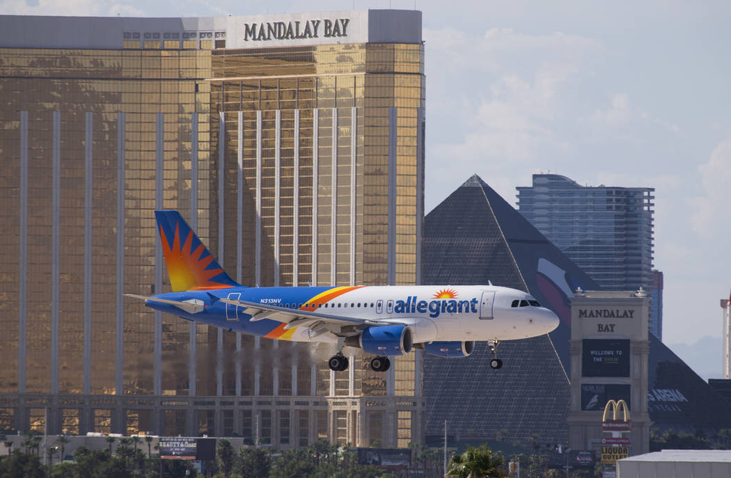 An Allegiant Air flight prepares to land at McCarran International Airport in Las Vegas on Mond ...