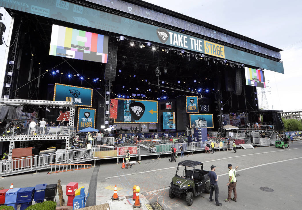 Work continues on the NFL Draft stage Tuesday, April 23, 2019, in Nashville, Tenn. The NFL Draf ...