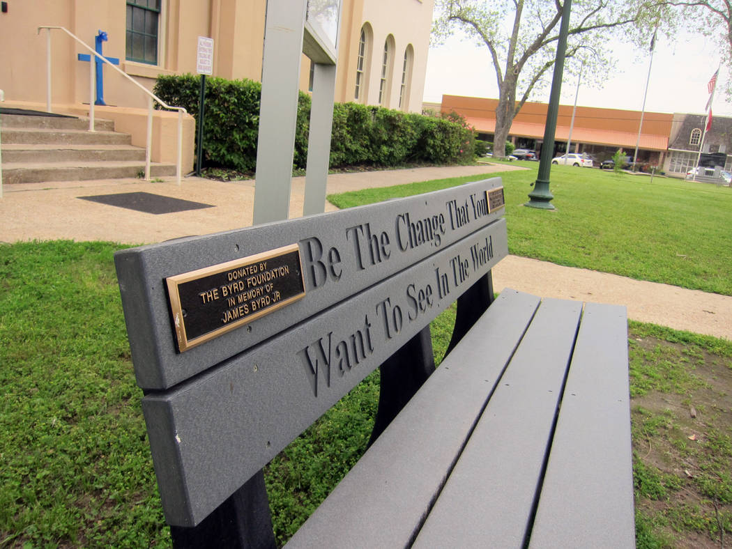 This April 12, 2019, photo shows a bench donated by a foundation started by the family of James ...