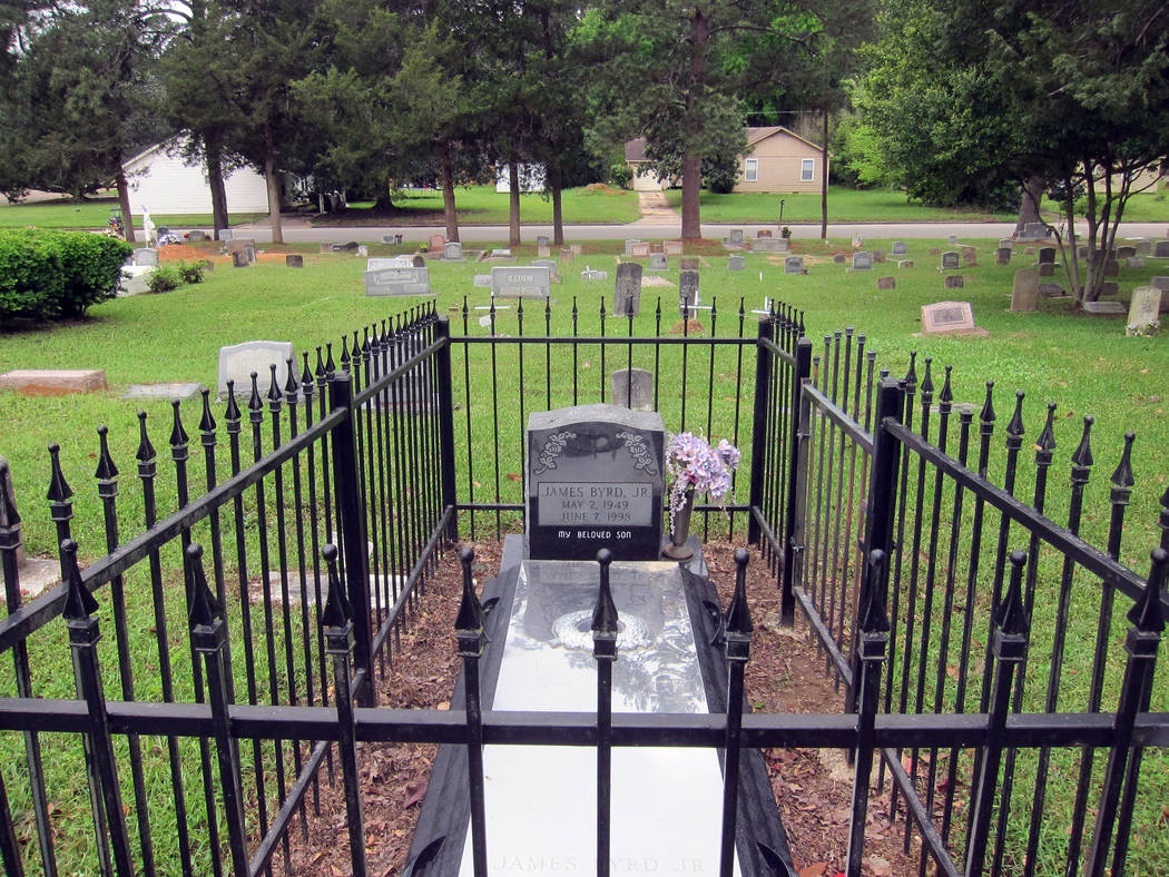This April 12, 2019, photo shows the gravesite of James Byrd Jr. in Jasper, Texas. Byrd was kil ...