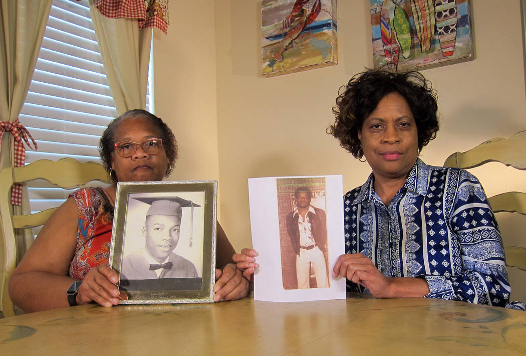 In this Wednesday, April 10, 2019, photo Mylinda Byrd Washington, 66, left, and Louvon Byrd Har ...
