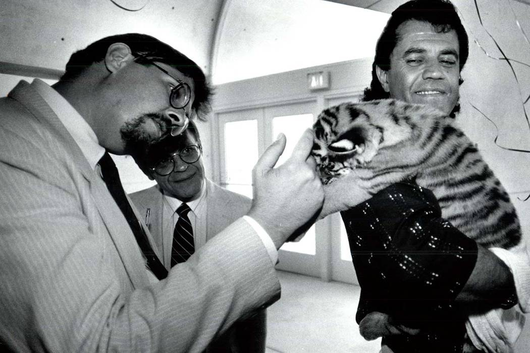 Gary Ogren pets 4-week-old tiger cub, Samantha, held by Jonathan Kraft in a Sept. 24, 1990, pho ...