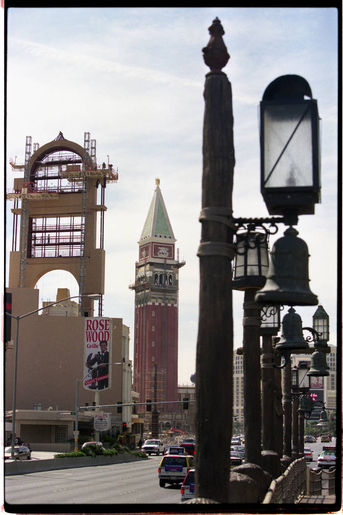 Scaffolding covering the Venetian's under-construction tower.
