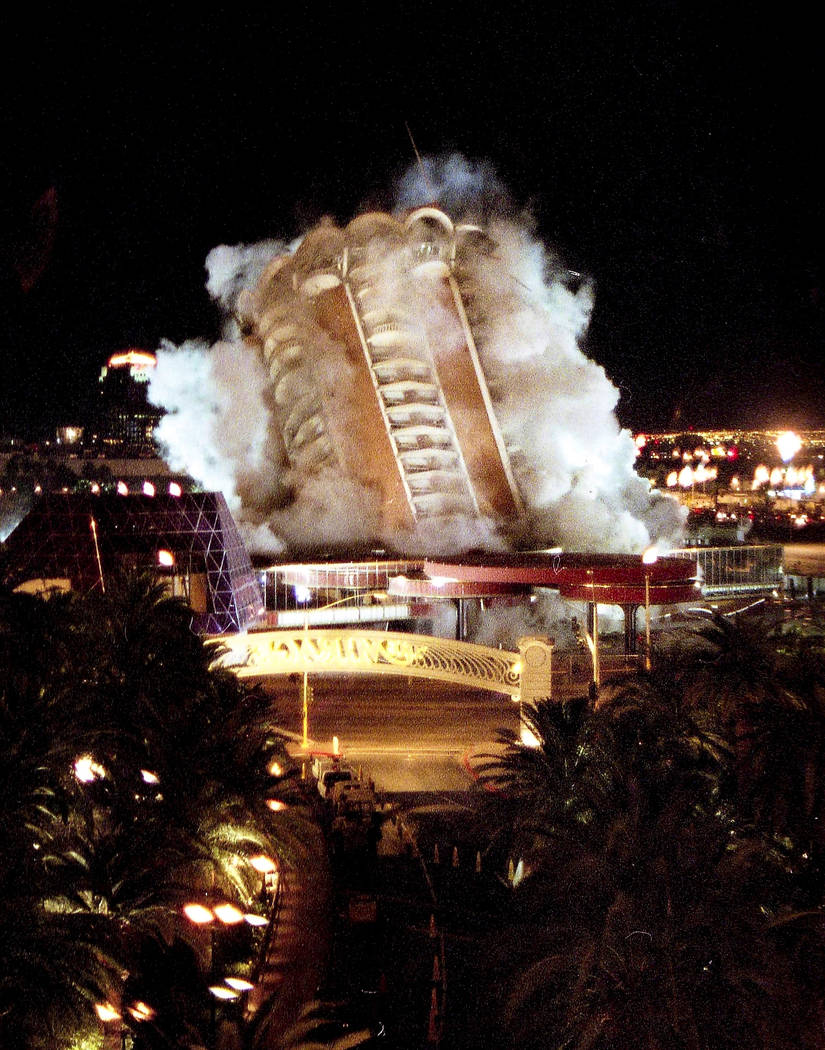 An images taken during the implosion of the Sands Hotel and Casino. (Las Vegas News Bureau)