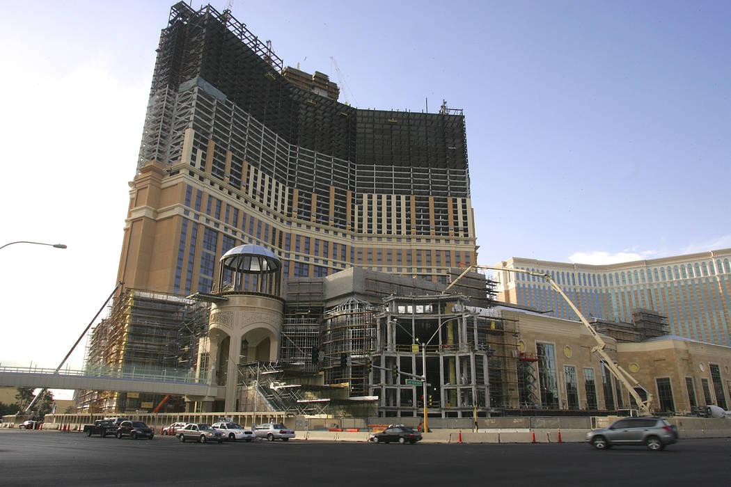 Construction continues on the Las Vegas Sands Corp's Palazzo Casino Resort on Las Vegas Bouleva ...